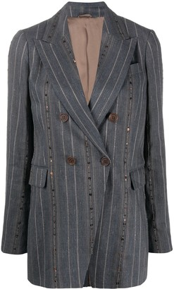 Brunello Cucinelli Pinstriped Sequin Embroidered Blazer