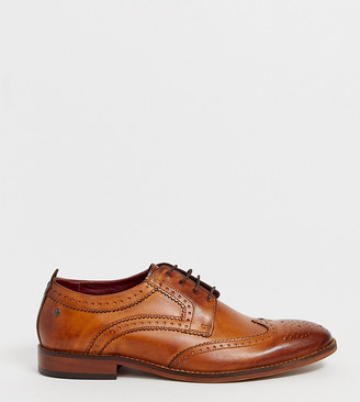 Base London Wide Fit Motif brogues in tan leather