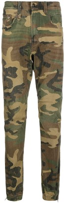 R 13 Camouflage Print Slim-Fit Trousers