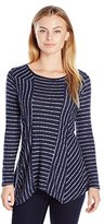 NY Collection Women's Petite Long Sleeve Scoop Neck Sharkbite Stripe Pullover