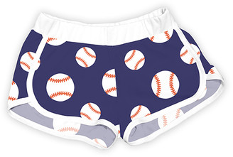 Urban Smalls Girls' Casual Shorts Multi/White - Navy & White Baseballs Shorts - Toddler & Girls