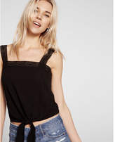 Express tie front lace strap tank