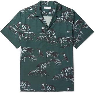 Desmond & Dempsey Camp-collar Printed Organic Cotton Pyjama Shirt - Green
