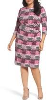 Eliza J Plus Size Women's Print Jersey Side Tuck Sheath Dress