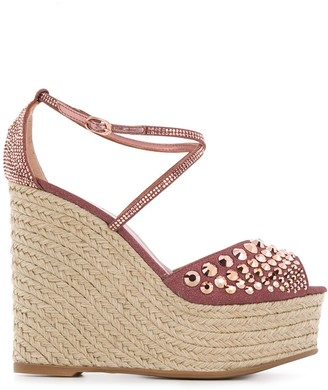 Le Silla Studded Wedge Heel Sandals