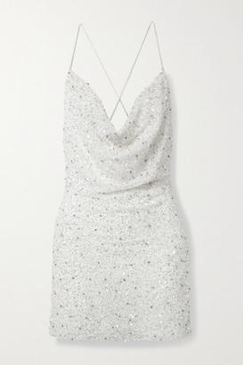 retrofete Mich Draped Embellished Tulle Mini Dress - White