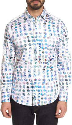Robert Graham Men's Flashback Patterned Contrast-Reverse Sport Shirt