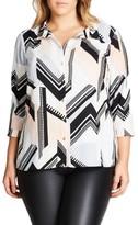 City Chic Plus Size Women's Jagged Stripe Shirt