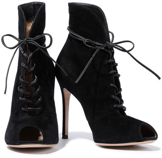 Gianvito Rossi Jane Lace-up Suede Ankle Boots