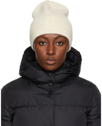 Moncler Off-White Cashmere Knit Beanie