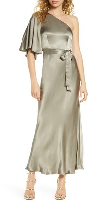 Shona Joy One-Shoulder Satin Gown