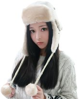 Siggi Russian Bomber Trapper Hat for Women Peruvian Winter Hat Warm Beige
