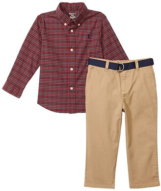 Polo Ralph Lauren Kids Natural Stretch Poplin Pants Set (Infant) (Red Multi) Boy's Pajama Sets