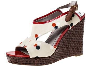 Marc by Marc Jacobs White Canvas Polka Dot Wedge Platform Sandals Size 38