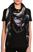 Alexander McQueen Midnight Blooms Voile Square Scarf, Black/Gray