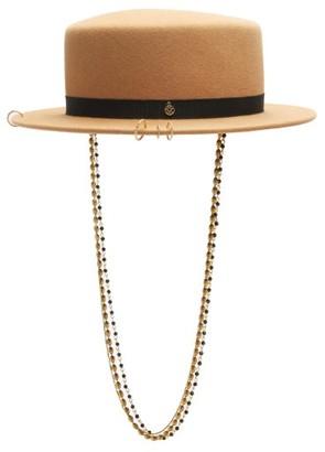Maison Michel Augusta Chain-embellished Felt Boater Hat - Light Brown