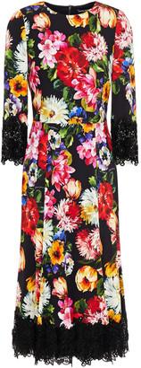 Dolce & Gabbana Guipure Lace-trimmed Floral-print Crepe Midi Dress