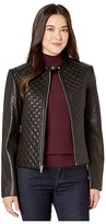 Lauren Ralph Lauren Petite Quilted Leather Jacket (Black) Women's Coat