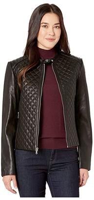 Lauren Ralph Lauren Petite Quilted Leather Jacket (Black) Women's Coat