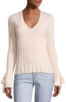 Derek Lam 10 Crosby V-Neck Long-Sleeve Sweater w/ Tie Detail