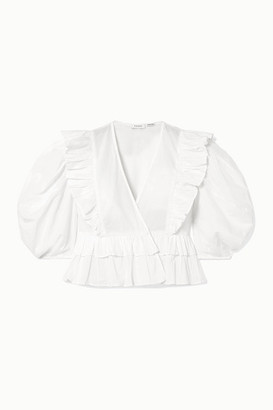 Rhode Resort Elodie Cropped Ruffled Cotton-voile Blouse - White