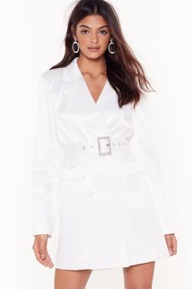Nasty Gal Womens Bling the Alarm Satin Blazer Dress - black - 4