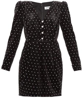 Self-Portrait Crystal-embellished Velvet Mini Dress - Black