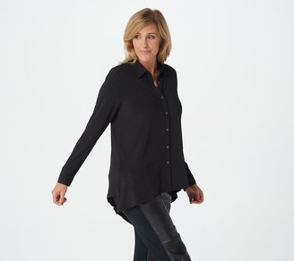 H by Halston Jet Set Jersey Button Front Shirt with Asymmetric Hem
