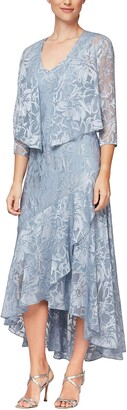 Alex Evenings Women's Petite Tea Length Printed Chiffon Dress with Shawl