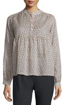 Michael Kors Long-Sleeve Mini Floral-Print Blouse, Nude/Black