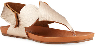Pedro Garcia Josefa Metallic Leather Geometric Thong Sandals