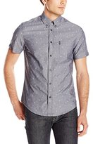 Ben Sherman Men's Short Sleeve Marl Seaside Print Button Down Shirt