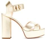 Nicholas Kirkwood Essential Metallic Leather Platform Sandals - Womens - Gold