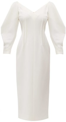 Emilia Wickstead Calla V-neck Wool-crepe Midi Dress - Womens - Ivory
