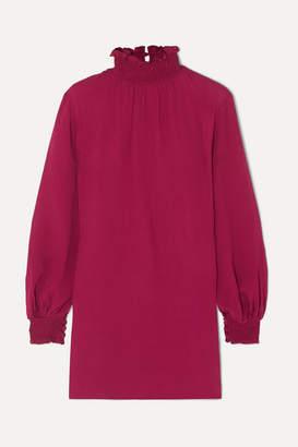 Vanessa Cocchiaro - The C.j. Shirred Crepe Mini Dress - Burgundy