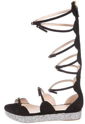 Giambattista Valli Suede Gladiator Sandals