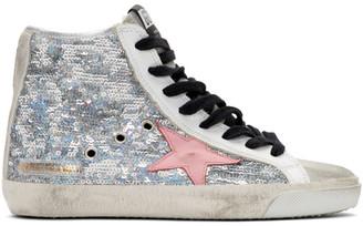 Golden Goose Silver Sequin Francy Sneakers