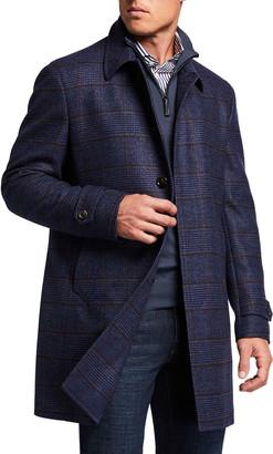 Neiman Marcus Men's Plaid Wool Topcoat