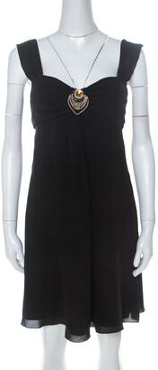 Temperley London Black Silk Embellished Detail Gathered Bodice Babydoll Dress M