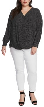 Vince Camuto Plus Size Printed Draped Blouse