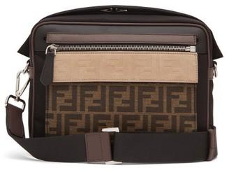 Fendi Logo-jacquard Leather-trim Cross-body Bag - Brown Multi