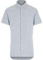 River Island MensBlue stripe short sleeve shirt