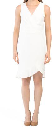 Faux Wrap Front Midi Dress