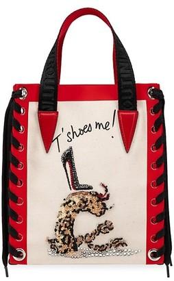 Christian Louboutin Mini Cabalace Braided Embellished Canvas Shopper