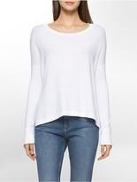 Calvin Klein Marled Crewneck High-Low Sweater