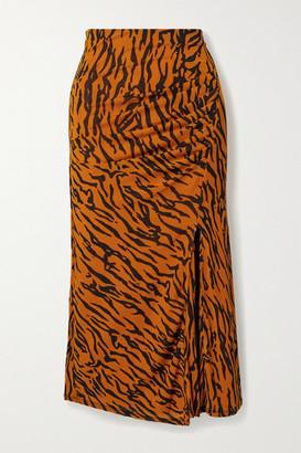 Diane von Furstenberg Edna Gathered Tiger-print Stretch-jersey Midi Skirt - Orange