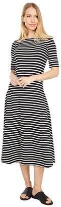 Lauren Ralph Lauren Striped Stretch Cotton Maxi Dress (Polo Black/Mascarpone Cream) Women's Dress