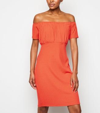 New Look Bright Ribbed Bardot Dress