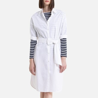 La Redoute Collections Cotton Mid-Length Shirt Dress with Belt and Long Sleeves