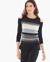 Chico's Shannon Stripe Cold-Shoulder Top